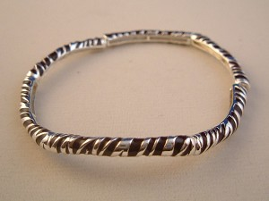 Tiger Animal Print Stretching Bangle Bracelet, Brown/Silver Ornament, Anti-allergic Jewelry