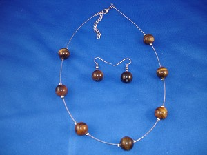Tiger`s Eye Round Ball Natural Stones, Set of Necklace & Earrings, European Costume Jewelry, Non-Allergic