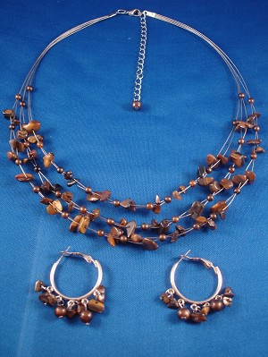 Tiger`s Eye Set of Necklace and Hoop Earrings, Genuine Stones, Anti-allergic Jewelry