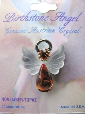 Topaz November Birthstone Angel Pin, Genuine Austrian Crystals
