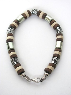 Tri-tone Brown Surfer Beaded Bracelet, Men's Beach Jewelry