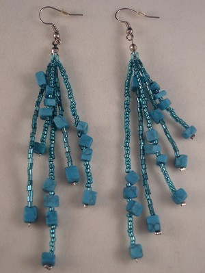 "Turquoise Blue Beads & Genuine Stones 4"" Extra Long Contemporary Earrings"