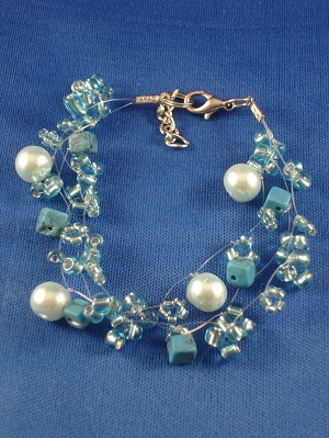 Turquoise Blue Contemporary Bracelet, Artificial Pearls, Genuine Stones, Beads