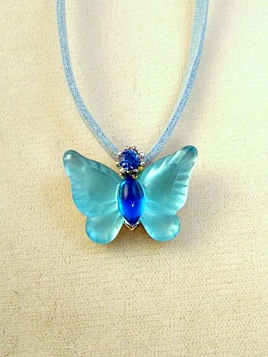 Turquoise Butterfly Pendant Necklace, Genuine Austrian Crystals, Leather Cord, Anti-allergic Jewelry