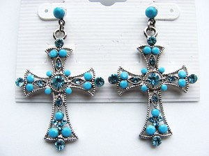 Turquoise Cross Post Earrings Genuine CZ Stones