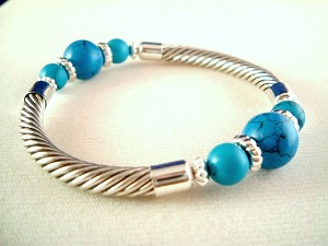 Turquoise / Sky Blue Twisted Rope Cable Stretching Bracelet, Ball Beads, Silver Finish Metal, Anti-allergic