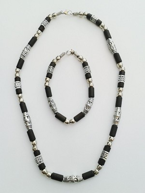 Hawaii Two-Tone Chrome Black Beach Beaded Necklace Bracelet, Surfer Choker Men's Jewelry