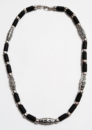Aruba Two-Tone Chrome Black Surfer Beaded Choker Necklace, Men's Beach Jewelry