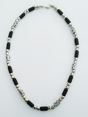Barbados Two-Tone Chrome Black Surfer Beaded Choker Necklace, Men's Beach Jewelry