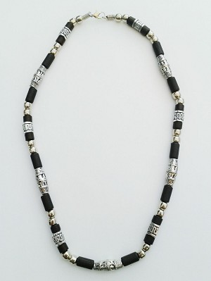 Hawaii Two-Tone Chrome Black Surfer Beaded Choker Necklace, Men's Beach Jewelry