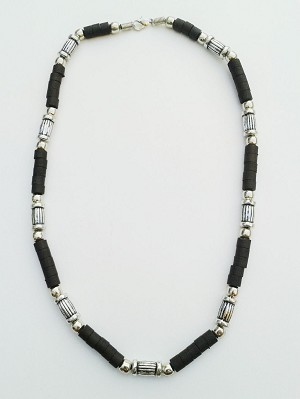 Key West Two-Tone Chrome/Black Surfer Beaded Choker Necklace, Men's Beach Jewelry