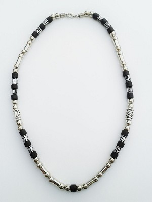 Cuba Two-Tone Chrome Black Surfer Beaded Choker Necklace, Men's Beach Jewelry