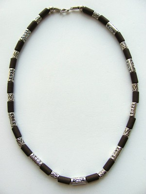 Cocoa Beach Two-tone Dark Brown Surfer Beaded Necklace, Men's Beach Jewelry