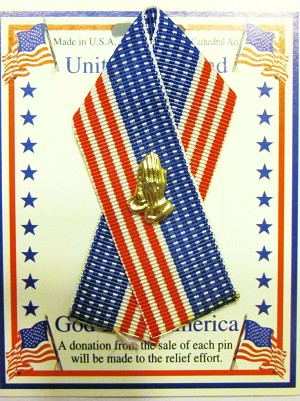 United We Stand, American Flag Ribbon & Praying Hands Pin, God Bless America