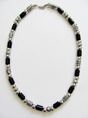 Vintage Apache Tribe Beaded Men's Beach Necklace, Chrome Black Surfer Jewelry