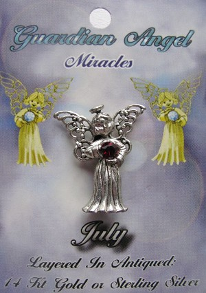 Vintage Silver Ruby-July Birthstone Guardian Angel Pin, Genuine Austrian Crystal
