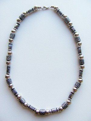 Vintage Silver-Tone Surfer Beaded Necklace, Men's Beach Jewelry