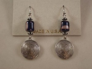 Vintage Style Dangling Earrings, Blue Stained Glass