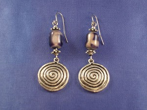 Burnished Silver Vintage Style Dangling Earrings, Blue Stained Glass