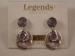 Vintage Style Dangling Earrings, Burnished Silver Tone Anti-allergic Metal