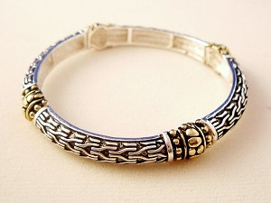 Vintage Style Ornament Bracelet, Two-tone Metal, Stretching Bangle