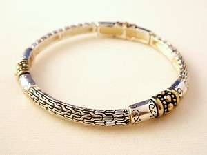 Vintage Style Ornament Bracelet, Silver & Gold Finish Metal, Stretching Bangle
