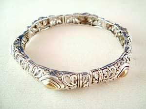 Vintage Style Twisted Rope Filigree Stretching Bangle Bracelet, Silver & Gold Finish Metal, Anti-allergic Jewelry