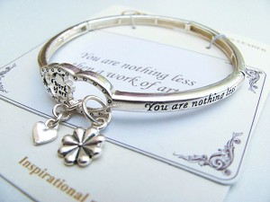 """Work of Art"" Heart Charm Bracelet, Inspirational Message Stretching Silver Bangle"
