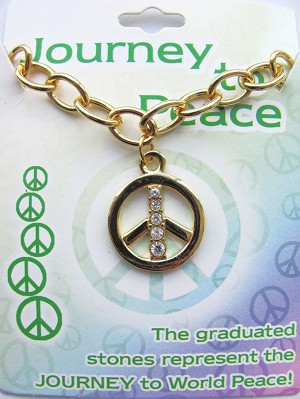 World Peace Journey Graduated CZ Stones Charm Bracelet Gold Tone