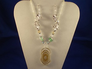Yellow Stained Glass Set of Bulky Pendant Necklace & Earrings, Non-Allergic Jewelry