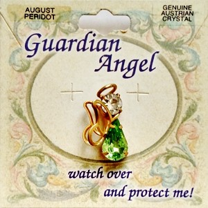 Peridot-August Birthstone Guardian Angel Pin, Genuine Austrian Crystals