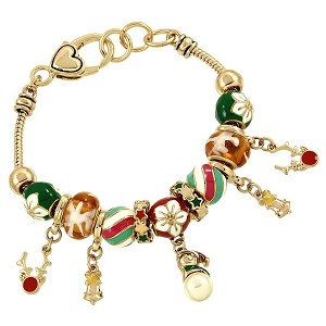 Christmas Theme Jingle Bells Charm Bracelet Pandora Inspired, Gold Plated