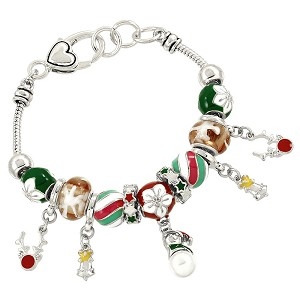 Christmas Theme Jingle Bells Charm Bracelet Pandora Inspired, Silver Plated