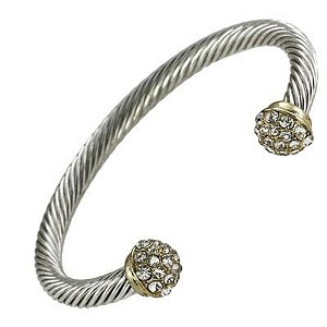 Designer`s Touch Bracelet Gold Cuffs Twisted Wire Cable Rhinestones