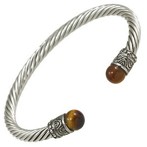 Designer`s Touch Bracelet Tiger's Eye Vintage Cuffs Twisted Wire Cable