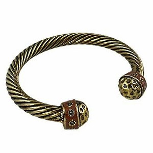 Designer`s Touch Bracelet Vintage Gold Hammered Cuffs Twisted Wire Cable