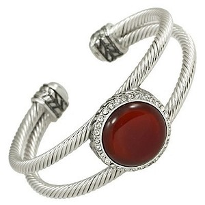 Designer`s Touch Large Carnelian Double Cuff Bracelet Rhinestones, Twisted Wire Cable