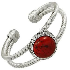 Designer`s Touch Large Red Coral Double Cuff Bracelet Rhinestones, Twisted Wire Cable